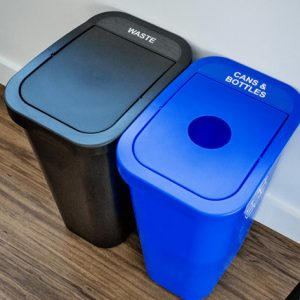 office recycling bins and trash bins