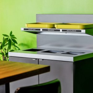 Upgrade your recycling & waste program with this product! The Sessanta Series Foodservice waste & recycling bin offers a sleek design within budget.